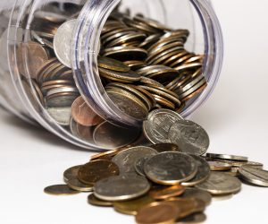 Coins out of a jar
