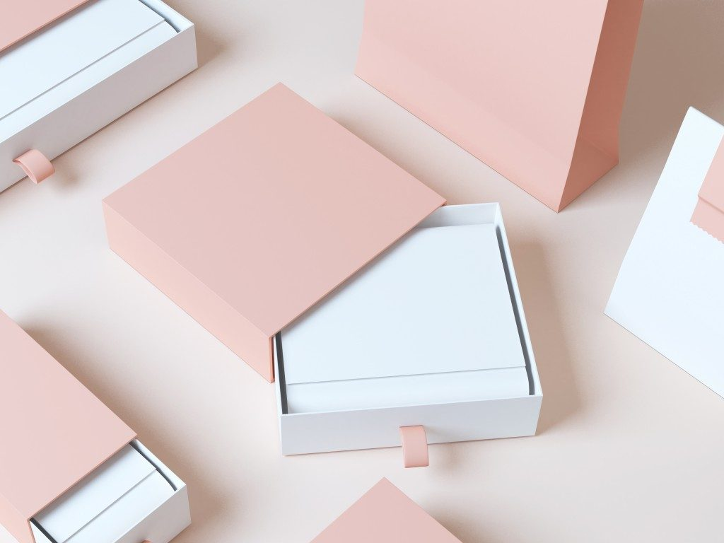 Elegant pink and white package