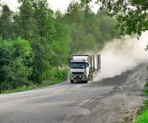Truck speeding on the road