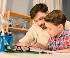 Single dad tutoring son