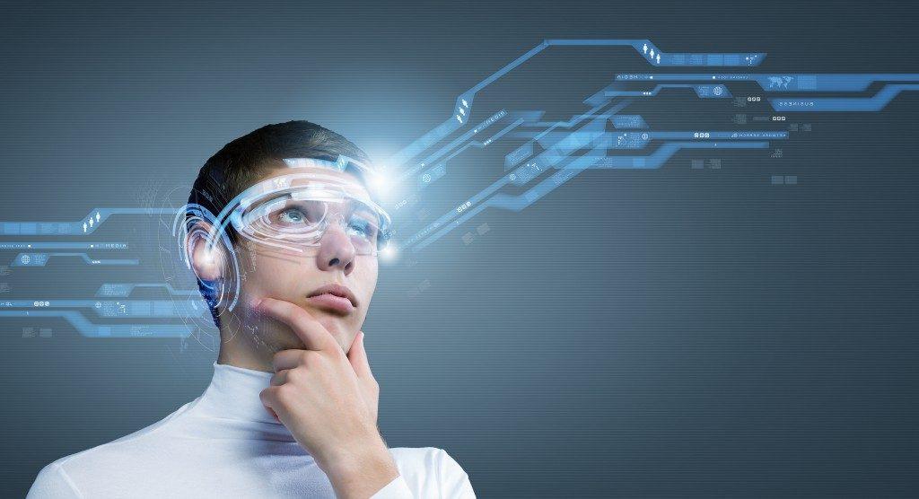 man looking and hearing through virtual reality