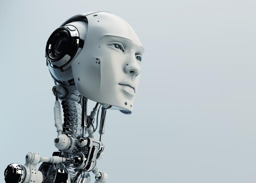 Stylish cyborg head in profile