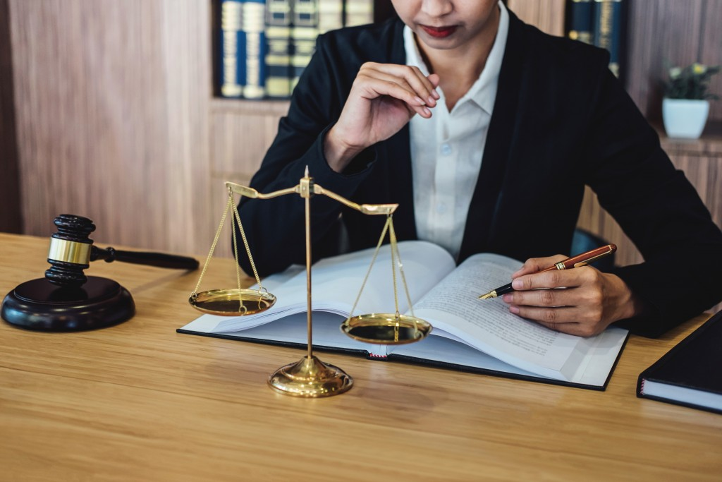 lawyer reviewing documents