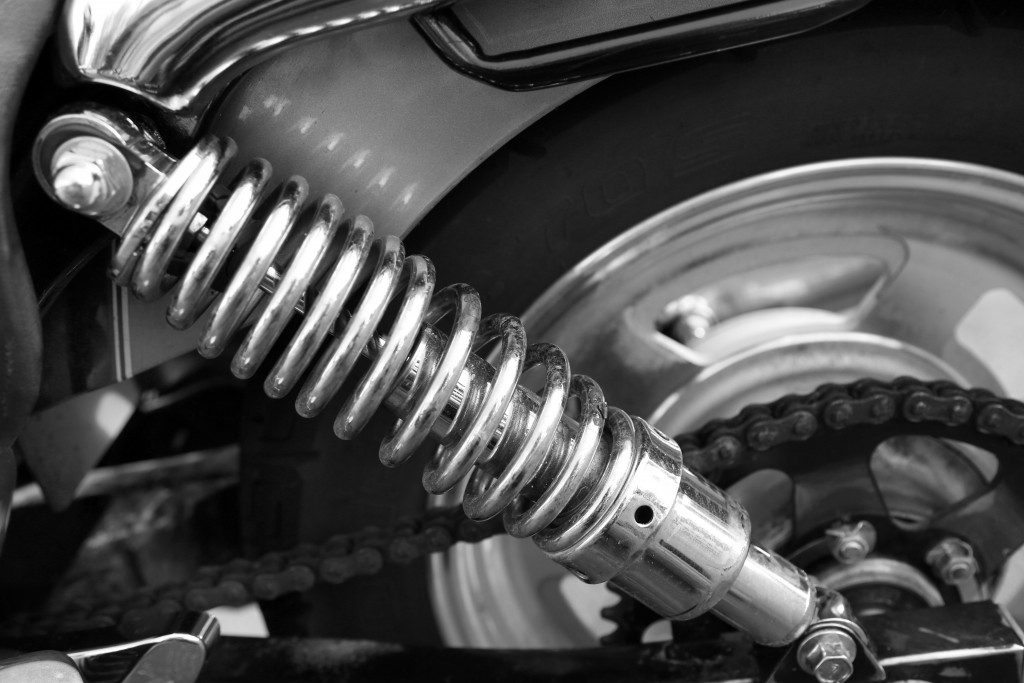 Motorcycle shock absorber, close-up