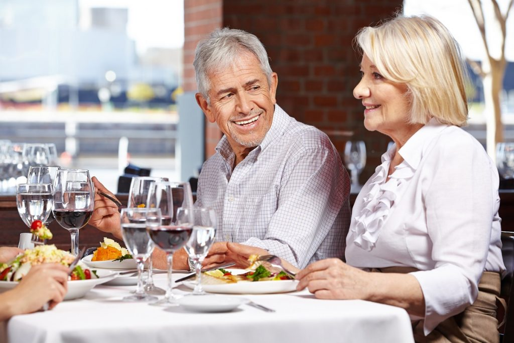 old couple in a restaurant