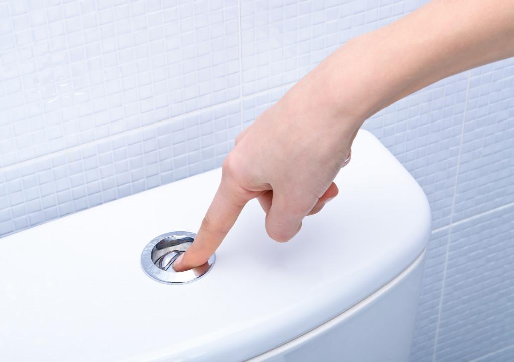 flushing a toilet bowl