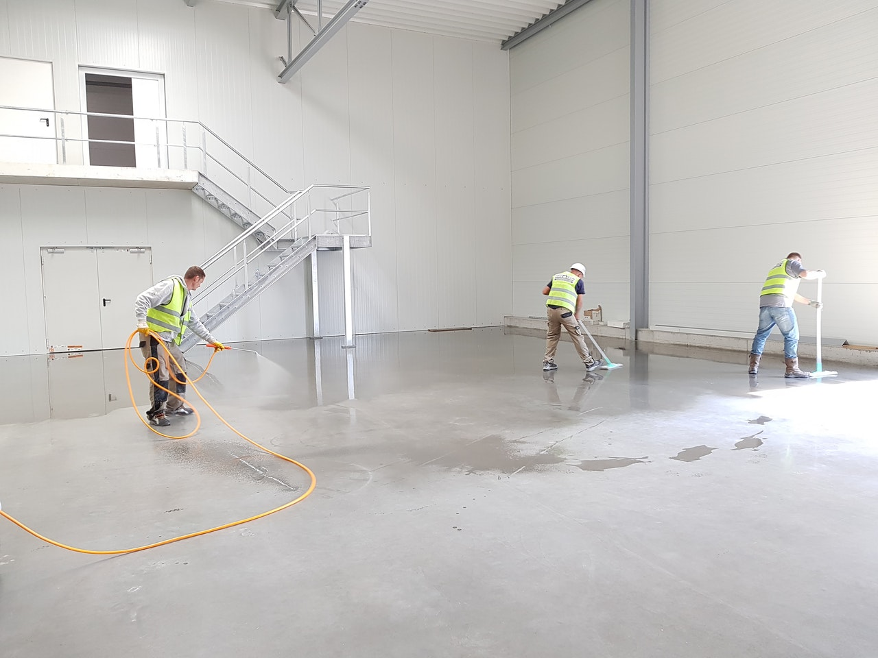 workers cleaning