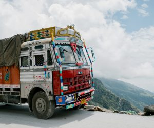 truck on a scenic route
