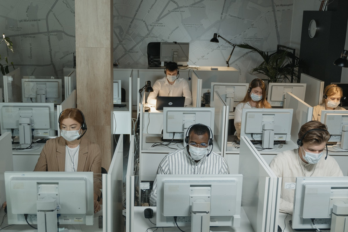 employees wearing facemask